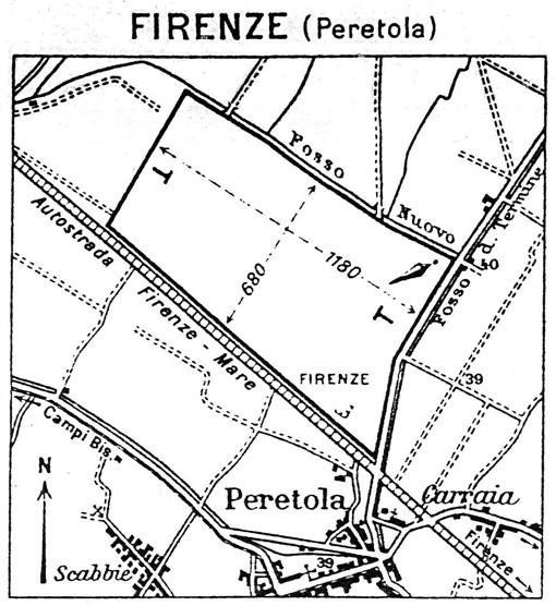 """""""Pista parallela"""" anni trenta. La prima direttrice di volo utilizzata sul campo di aviazione di Peretola, indicata nell'immagine dalle due """"T"""", era parallela al tracciato dell'asse viario Firenze-Mare."""