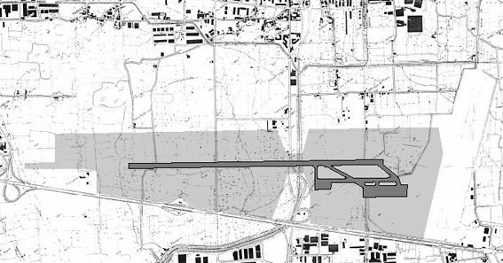 """""""Pista parallela"""" anni '80. Uno dei progetti per la pista """"parallela"""" 12/30 studiati dalla società Italairport nel 1989 su incarico degli enti locali per approfondire e valutare la proposta progettauale della SAF del 1987."""