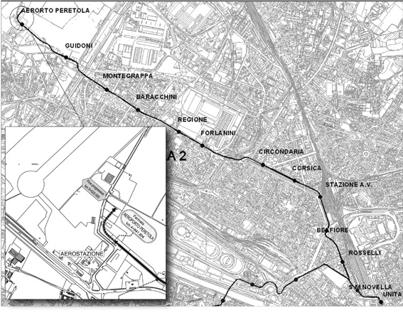 """Il tracciato della linea 2 della tramvia che collegherà l'aeroporto """"Vespucci"""" con la stazione di S.M. Novella. La tratta avrà 10 fermate intermedie e si attesterà sulla destra del terminal aeroportuale. Da qui la linea dovrebbe essere prolungata fino al polo universitario di Sesto Fiorentino."""
