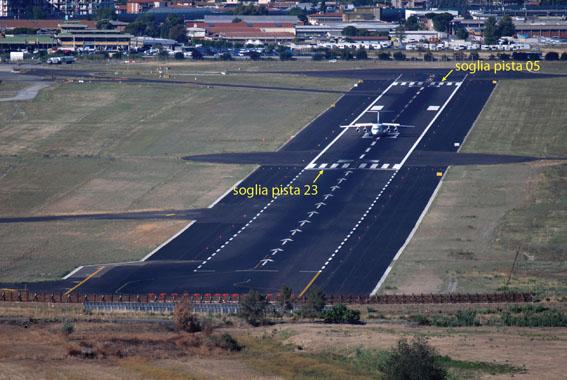 Soglie pista dell'attuale aeroporto di Firenze. Entrambe sono spostate rispetto all'inizio fisico della pista per la presenza di ostacoli artificiali e naturali sui prolungamenti dell'asse pista, determinando distanze di atterraggio e decollo penalizzate.