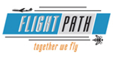 "Il logo del progetto Flight Path che mostra un aereo ed un ape con lo slogan ""together we fly""."
