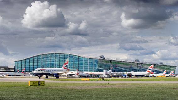 Heathrow Airport, Terminal 5A (main terminal building - south-east elevation), August 2010.