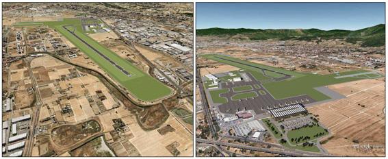 """Simulazione grafica della nuova pista inserita nel territorio vista da nord-ovest, sul lato della piana (a sinistra) e da sud-est, sul lato di Firenze (a destra). Il sedime del """"Vespucci"""", come di qualunque altro aeroporto, si configura per la maggior parte della sua estensione come un grande prato verde, soprattutto nella porzione che ospita la pista di volo."""