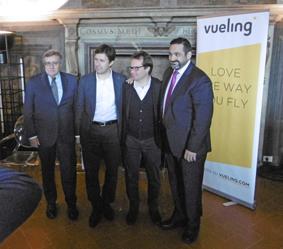 Foto ricordo con, da sinistra, Vittorio Fanti, Dario Nardella, Marco Carrai e Alex Cruz.