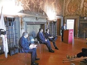 Un momento della conferenza stampa con, da sinistra, l'AD di ADF Pier Vittorio Fanti, il presidente Vueling Alex Cruz, il presidente ADF Marco Carrai e il sindaco di Firenze Dario Nardella.