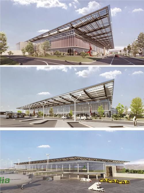 Rendering della nuova aerostazione prevista dal masterplan 2014-2029