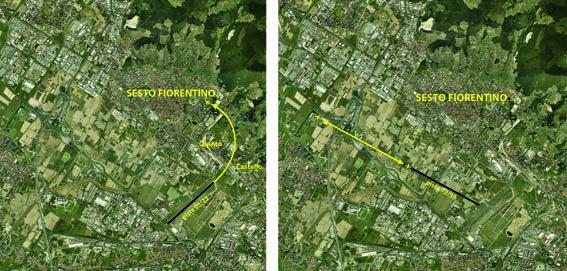 """Le due immagini evidenziano la situazione dei voli sull'abitato di Sesto Fiorentino con la pista attuale 05/23 (a sinistra) e con la nuova pista 12/30 (a destra). Fino ad oggi ampie porzioni delle aree residenziali sestesi sono sorvolate nella procedura di """"decollo 05"""" (verso monte Morello). La nuova pista porta le rotte lontane da tutte le aree abitate, sorvolando il territorio di Sesto per un breve tratto lungo l'autostrada A11."""