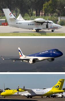Dall'alto: il Let 410 di Silver Air, un Embraer E190 di Air Moldova ed un ATR 72 di Mistral Air.
