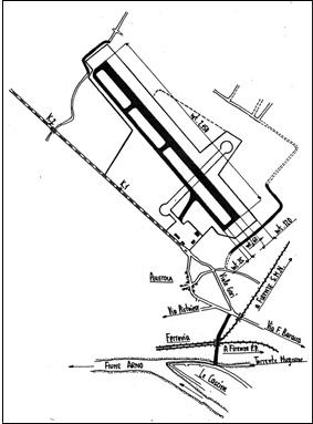 """Lo schema della nuova pista """"parallela all'autostrada"""" proposta nel 1949."""